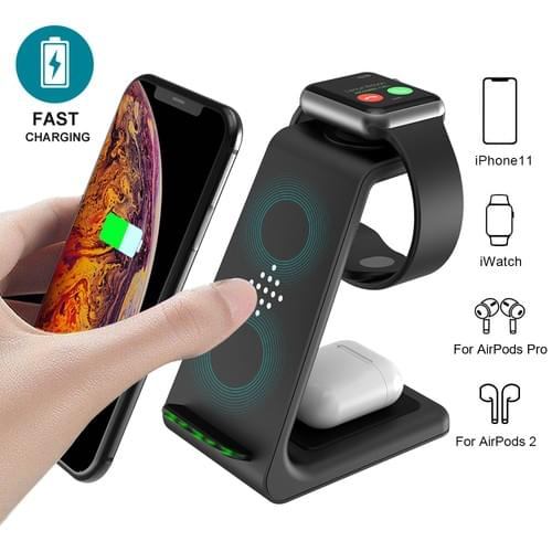Wireless Charging Stand, GEEKERA 3 in 1 Wireless Charger Fast Charging Dock Station for Apple Watch