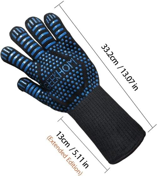 BBQ Gloves, 800 ℃ / 1472 ℉ Extreme Heat Resistant Oven Gloves with Fingers Kitchen Oven