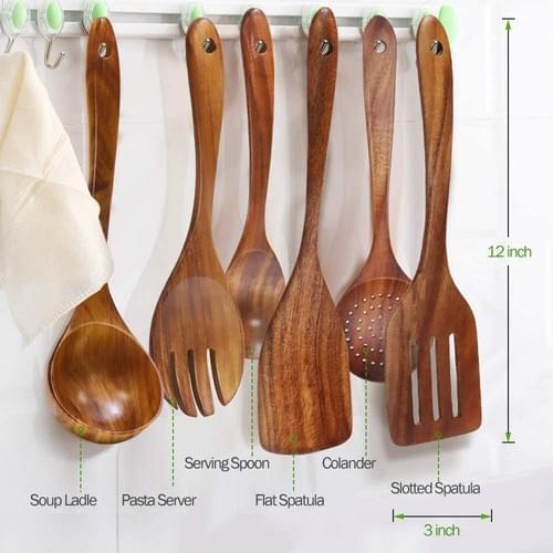 Wooden Spoons for Cooking, 6-Piece Wood Kitchen Utensil Set for Non Stick Cookware with Natural Teak