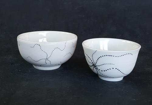 Porcelain cup or bowl with a black starfish
