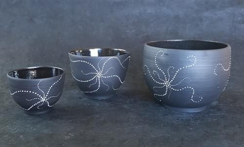 Black cups and bowls with white starfish