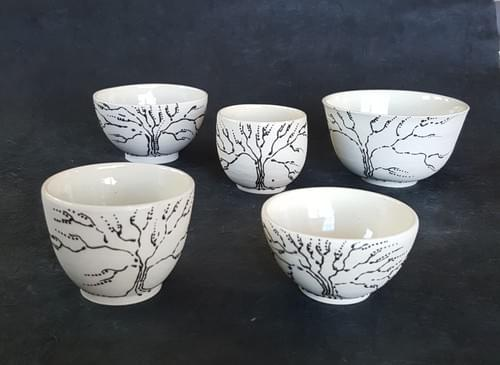 Porcelain cup or bowl with black tree