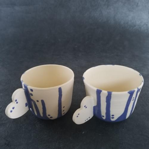 Espresso Cups with blue glaze drips