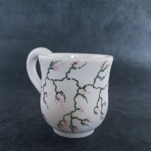 Porcelain Mug  with a delicate pink blossom vine