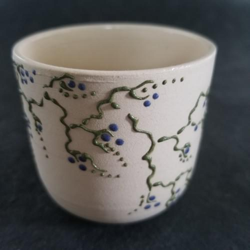 Tea Cup with vine and grape pattern
