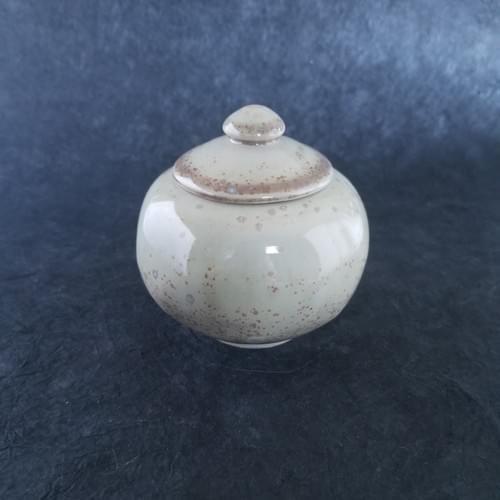 Green Mint Crystal glaze lidded ceramic pot