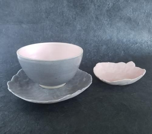 Pink and Grey set of bowls and plates