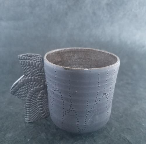 Black clay mug with special handle