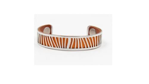 manchette en acier couleurs interchangeables orange / camel