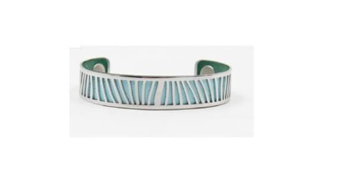 manchette en acier couleurs interchangeables bleu ciel / vert