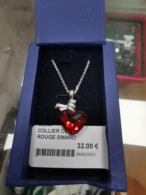 collier coeur rouge swarovski