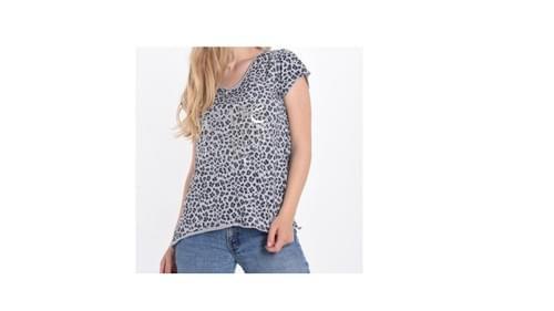 tee shirt leopard love gris