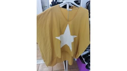 tee shirt oversize étoile - moutarde
