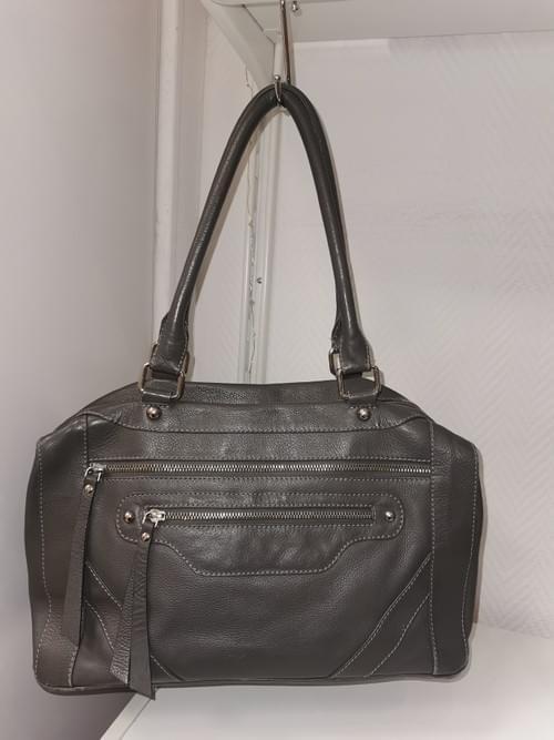 sac cuir gris