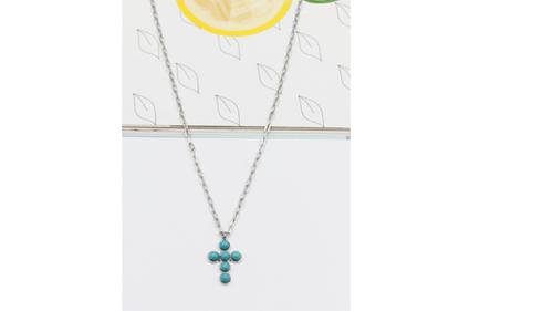 collier acier croix turquoise