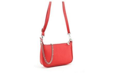 sac pochette cuir rouge