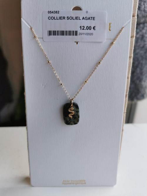 collier agate serpend en acier