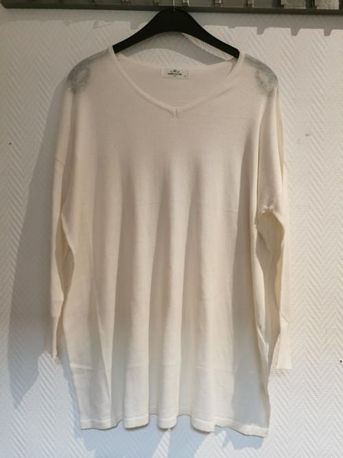 """Pull blanc cahemire """" Cheery bloom"""" taille unique"""