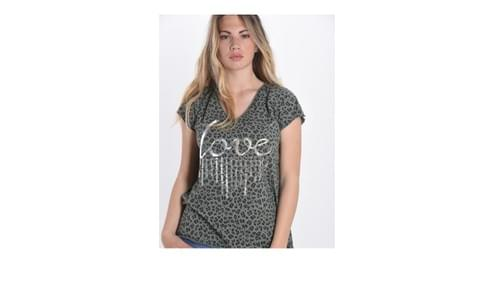 tee shirt leopard love kaki