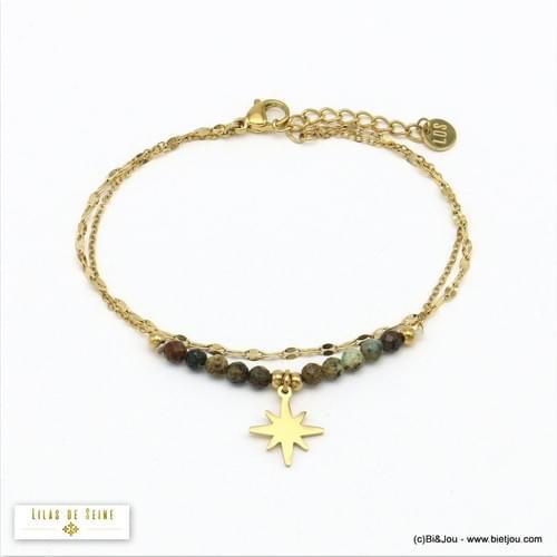 bracelet acier et agate