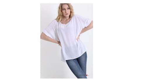 Tee shirt blanc 20% de soie Taille unique
