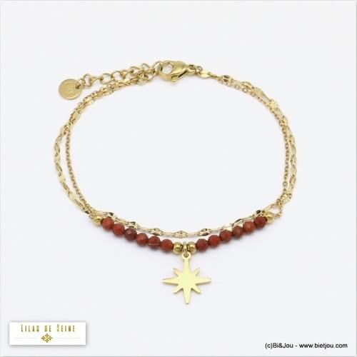 bracelet acier et pierre de soleil