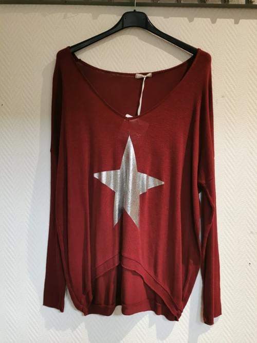 Pull rouge étoile argent Taille Unique
