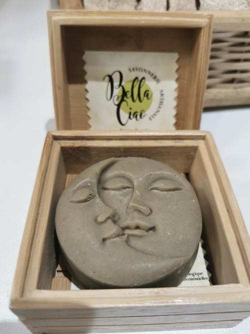 savon bio lune + porte savon argile verte