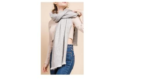 Neuf ! Grande écharpe grise/blanche 90*180