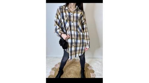 Chemise longue carreaux Oversize