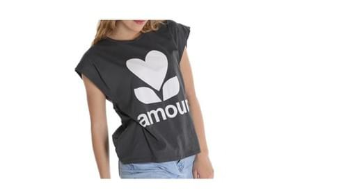 gris foncé .tee shirt amour taille unique