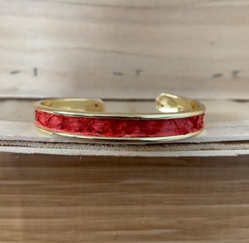 Jonc de mer en mulet rouge sur or 10 mm