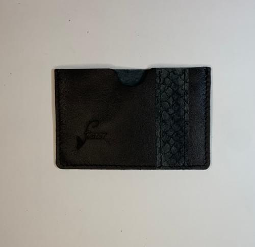 Porte-carte modèle Pignot cuir noir lisse et cuir de poisson carbone