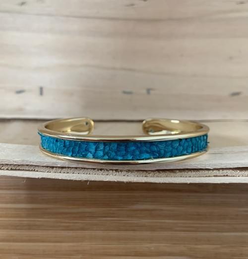 Jonc de mer turquoise sur or 10 mm