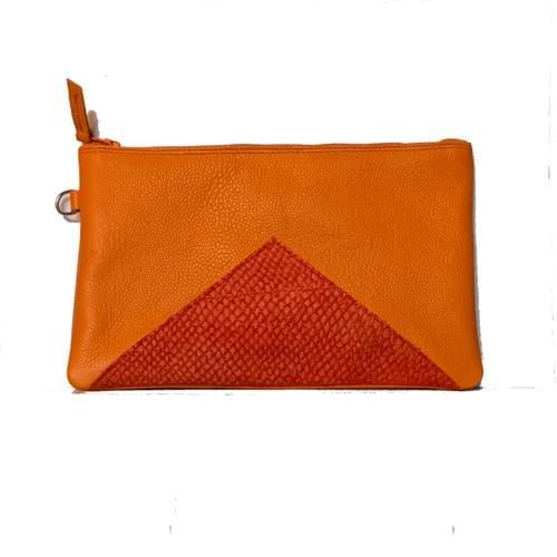 Modèle Dune : Pochette cuir grainé orange et cuir de poisson rouge
