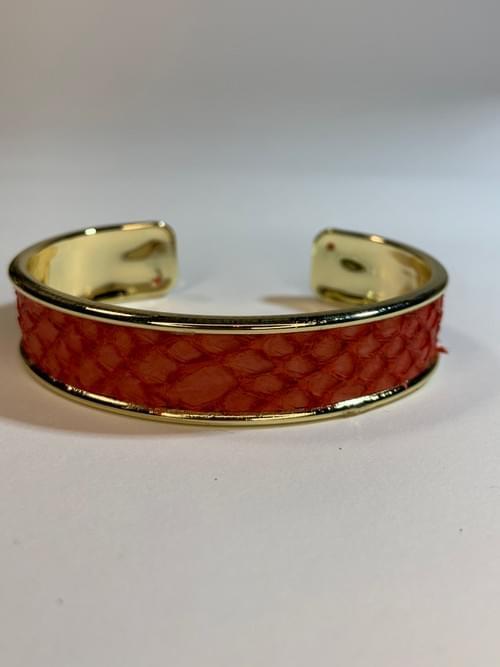 Jonc de mer rouge sur or 15 mm