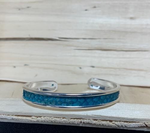 Jonc de mer turquoise sur argent 10 mm
