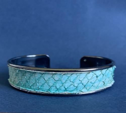 Jonc de mer turquoise sur laiton gunmétal 15 mm