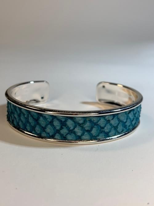 Jonc de mer turquoise sur argent 15 mm