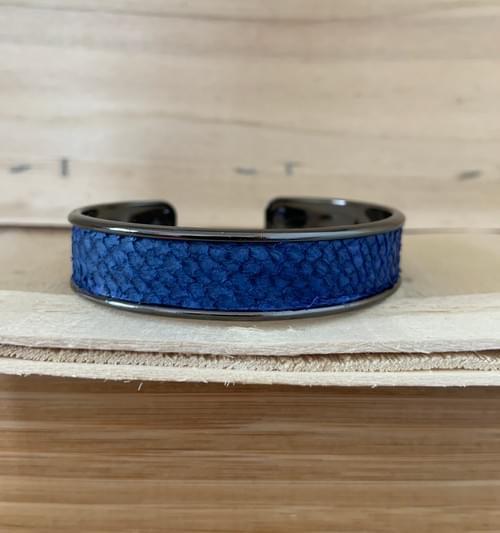 Jonc de mer bleu canard sur métal noir 15 mm