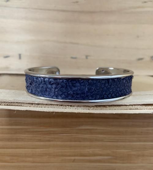 Jonc de mer bleu marine sur argent 15 mm