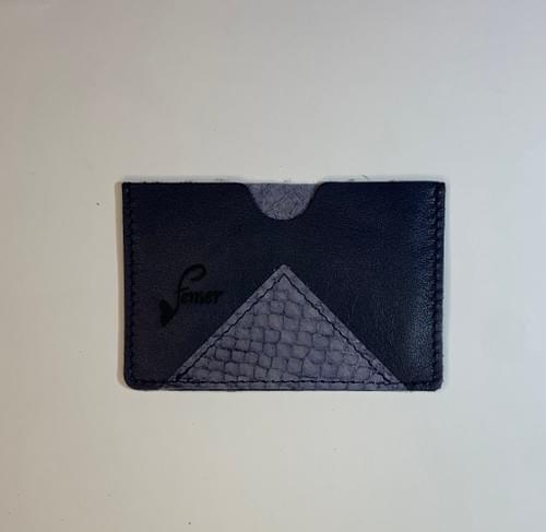 Porte-carte modèle Dune cuir marine lisse et cuir de poisson