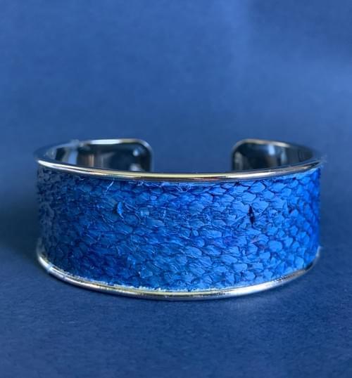 Jonc de mer truite bleu électrique sur argent 20 mm