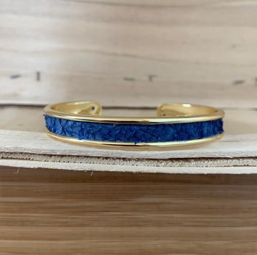 Jonc de mer bleu canard sur or 10 mm