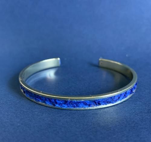 Jonc de mer bleu canard sur or 5 mm