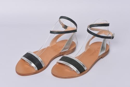 """Sandales """" La Pylataise"""" Carbone & Argent"""