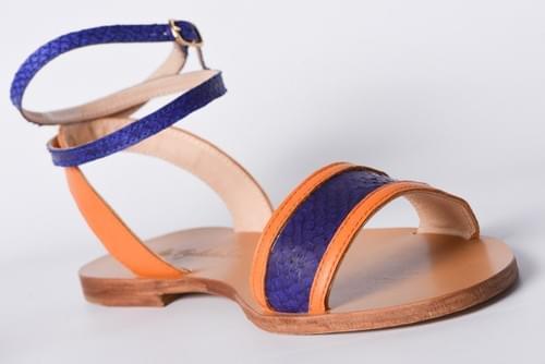 """Sandales """" La Pylataise"""" Electrique et Orange"""