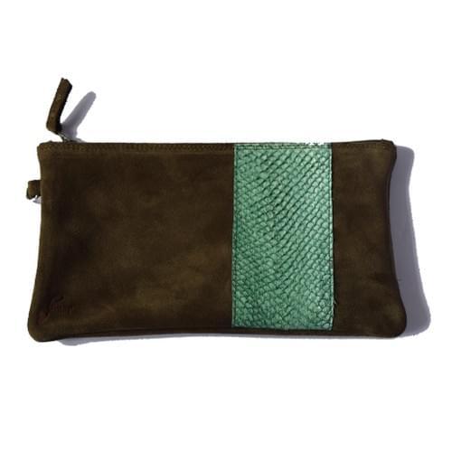 Modèle Pignot : Pochette cuir kaki et cuir de poisson vert bouteille