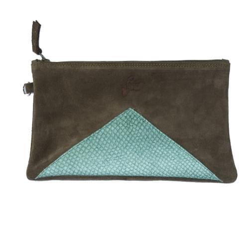 Modèle Dune : Pochette cuir kaki et cuir de poisson vert bouteille