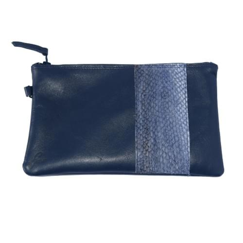 Modèle Pignot : Pochette cuir lisse et cuir de poisson marine